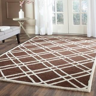 Safavieh Handmade Moroccan Cambridge Dark Brown/ Ivory Geometric Wool Rug (9' x 12')