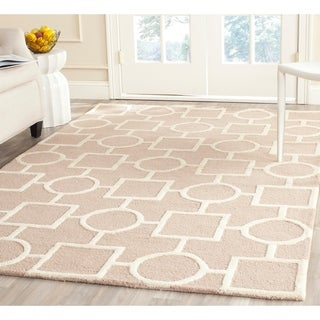 Safavieh Handmade Moroccan Cambridge Squares-and-circles Beige/ Ivory Wool Rug (9' x 12')