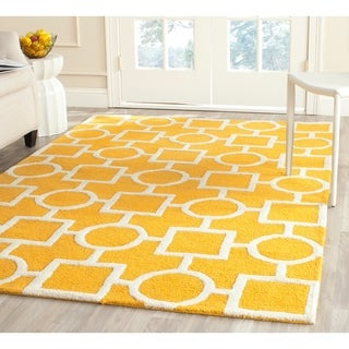 Safavieh Handmade Moroccan Cambridge Gold/ Ivory Wool Rug with .5-inch Pile (9' x 12')