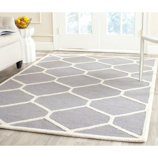 Safavieh Handmade Durable Moroccan Cambridge Silver/ Ivory Wool Rug (9' x 12')