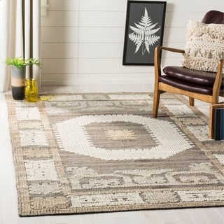 Safavieh Handmade Kenya Ivory/ Brown Wool Rug (9' x 12')