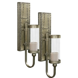 Uttermost 'Rashane' Silver Champagne Sconce Candle Holders (Set of 2)