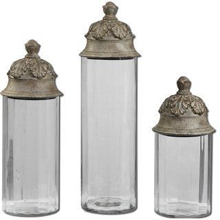 Uttermost Acorn Glass Cylinder Canisters (Set of 3)
