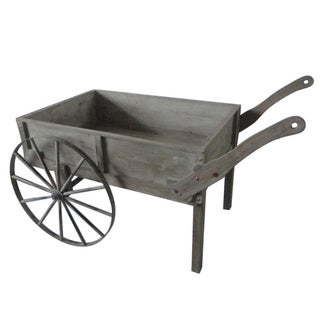 Distressed Wood Cart with Wagon Wheels