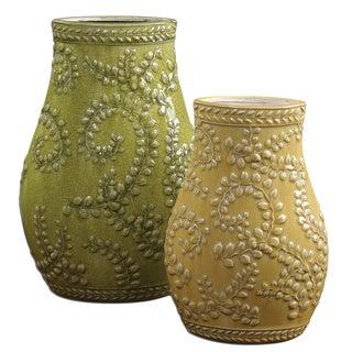 Uttermost Trailing Leaves Pale Yellow/ Light Green Ceramic Vases (Set of 2)