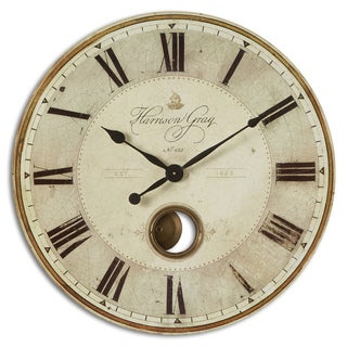 Large Grey Kitchen Clock With Glass Face