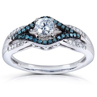 Annello 14k White Gold 1/2ct TDW Blue and White Rond-cut Diamond Ring (H-I, I1-I2)