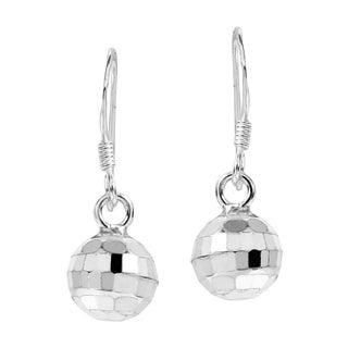 Retro Disco Ball Sterling Silver Dangle Earrings (Thailand)