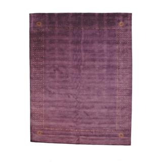 Indo Hand-knotted Gabbeh Purple/ Red Wool Rug (9' x 12')