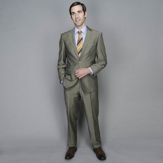 Taupe Sharkskin 2-button Wool and Silk Blend Suit