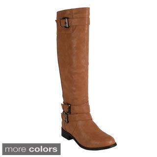 Reneeze 'APPLE-3' Women's Side Zip Buckled Knee-High Riding Boots
