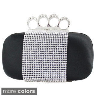 Jacki Design Satin Rhinestone Knuckle Ring Clutch