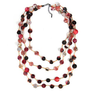 Red Tone Beauty Mother of Pearl Handmade Necklace (Philippines)