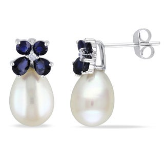 Miadora 10k White Gold Cultured Freshwater Pearl, Sapphire and Diamond Earrings (8-8.5 mm)