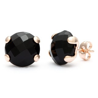 18k Gold Overlay Onyx Stud Earrings