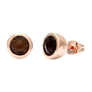 18k Rose Gold Overlay Smokey Quartz Stud Earrings