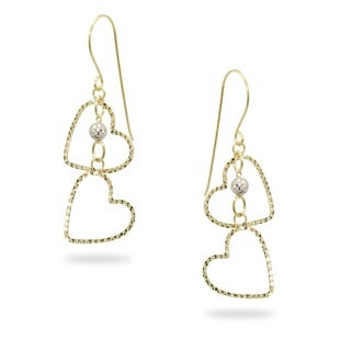 Gioelli 14k Gold Two-tone Diamond-cut Double Heart Dangle Earrings