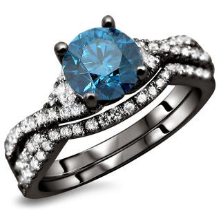 Noori 18k Black Gold 1 1/2ct TDW Certified Blue and White Diamond 2-piece Ring Set (E-F, VS1-VS2)