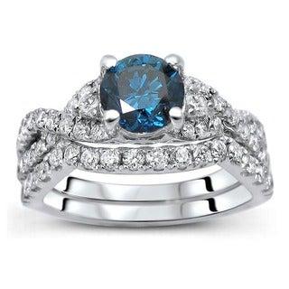 Noori 18K White Gold 1 1/2ct TDW Certified Blue Diamond 2-piece Bridal Set (F-G, SI1-SI2)