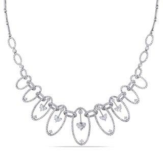 Miadora 18k White Gold 5ct TDW Diamond Bib Necklace (G-H, SI1-SI2)