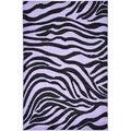 Purple Animal Print Zebra Design Area Rug (5 x 7)