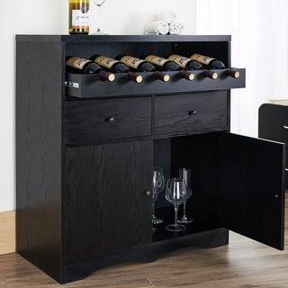 Furniture of America Transitional Black Multi Shelf Bar Buffet Unit