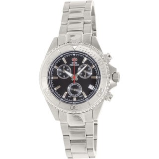 Swiss Precimax Women's Manhattan Elite Stainless Steel Black Dial Chronograph Watch