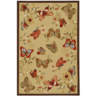 Beige Contemporary Butterflies Design Non-skid Area Rug (5' x 6'6)