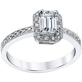 18k White Gold 3/4ct TDW Emerald Cut Diamond Ring (H, SI1-SI2)