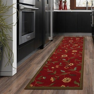 Floral Garden Design Non-skid Dark Red Runner Rug (1'10 x7')