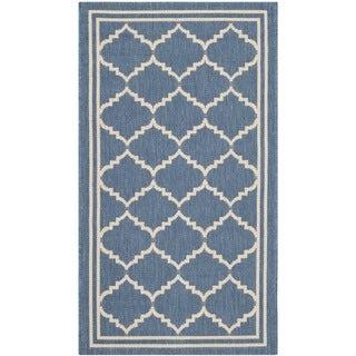 Safavieh Indoor/ Outdoor Courtyard Blue/ Beige Low-pile Rug (2' x 3'7)