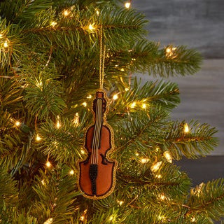 Handcrafted Beaded Violin Ornament (India)