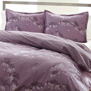 City Scene Blossom Purple Floral Reversible 3-piece Comforter Set