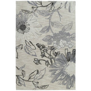 Handmade Copia Grey Floral Polyester Rug (4' x 6')