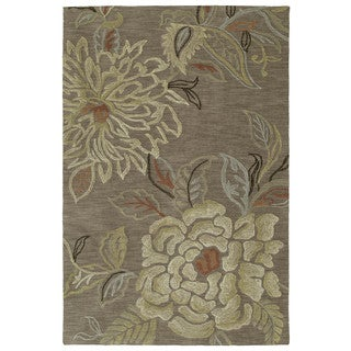 Copia Light Brown Floral 8x10 Polyester Rug