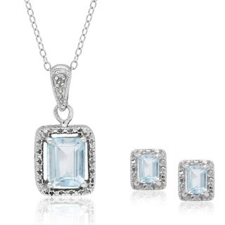 Dolce Giavonna Sterling Silver Emerald-cut Topaz/ Diamond Accent Pendant with Bonus Pair of Stud Earrings