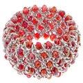 La Preciosa Silvertone Red Crystal Wide Stretch Bracelet