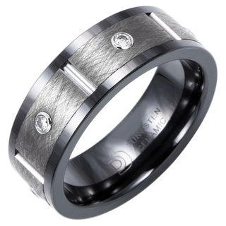 Ceramic and Tungsten 8mm 1/5ct TDW Diamond Band (H-I, I2-I3)