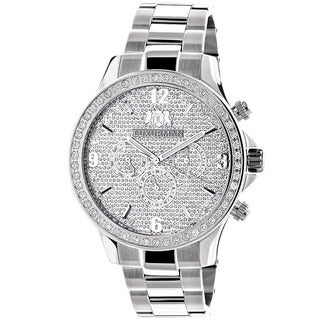 Luxurman Men's Large 2ct Diamond Bezel Chronograph Watch