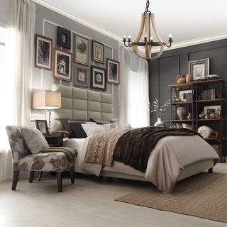 INSPIRE Q Tower Taupe Velvet High Profile Upholstered Bed