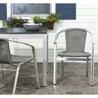 Safavieh Wrangell Grey Indoor Outdoor Stackable Arm Chair (Set of 2)