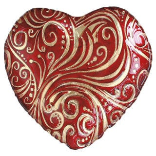 Red/ Gold 8.25-inch Heart Plates (Set of 2)