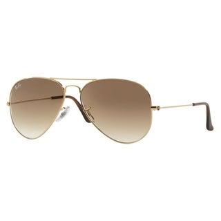 Ray-Ban 'RB3025' Unisex Shiny Gold Metal Aviator Sunglasses