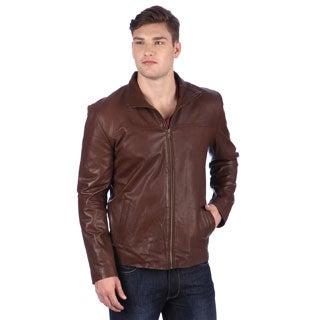 United Face Men's Brown Leather Hipster Jacket
