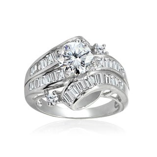 Icz Stones Sterling Silver and Cubic Zirconia Bridal Engagement Ring