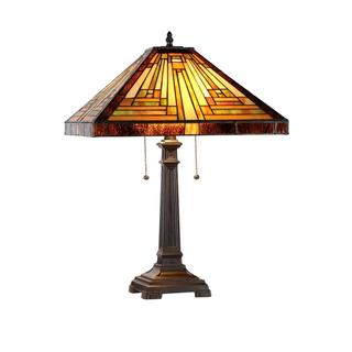 Tiffany Style Mission Design 2-light Dark Antique Bronze Table Lamp