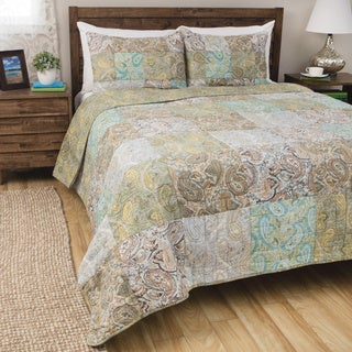Greenland Home Fashions Vintage Paisley 3-piece Quilt Set