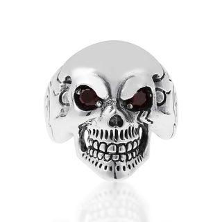 Punk Skull Cubic Zirconia Eyes Sterling Silver Ring (Thailand)