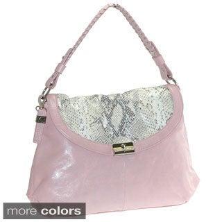 Buxton 'Jasmine' Glazed Leather Snakeskin Embossed Print Handbag