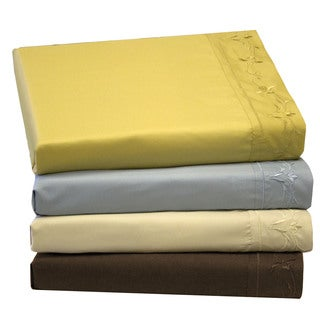 Microfiber Solid Embroidered Floral Sheet Set